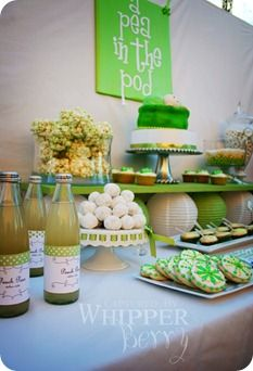 Pea in a Pod Baby Shower Dessert Table by WhipperBerry. Cute Baby Shower Ideas, Baby Shower Themes, Baby Boy Shower, Baby Shower Gifts, Baby Gifts, Shower Party, Baby Shower Parties, Bridal Shower, Baby Showers