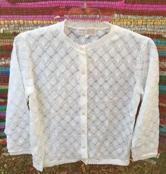 Vintage 1960s Acrylic Pointelle Lace Knit Cardigan Womens Sweater Made Japan White Large / Granny Sweater by hollydollyvintageky on Etsy https://www.etsy.com/listing/480363956/vintage-1960s-acrylic-pointelle-lace
