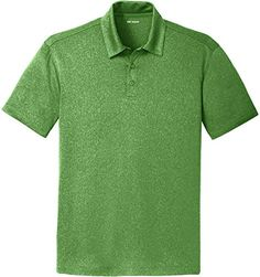 DRIEQUIPtm Mens Heathered Moisture Wicking Golf PoloGreen4XL -- You can find out more details at the link of the image.
