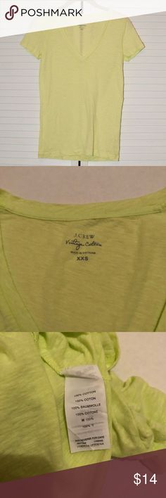 J. Crew XXS Yellow-Green Vintage Cotton Tee 100% cotton JCrew Vintage Cotton Tee in a size XXS. Bright spring yellow-green color! In very good condition! Comes from a cat-friendly, smoke-free home. Check out my other listings to bundle! J. Crew Tops Tees - Short Sleeve