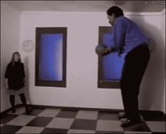 """The """"Ames Room"""" illusion messes with our depth perception and is created by slanting the back wall of the room towards the camera and the ceiling downwards."""