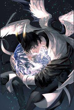 Dark Anime Guys, Cute Anime Guys, Fantasy Character Design, Character Art, Fantasy Characters, Anime Characters, Angel And Devil, Anime Demon, Kawaii Anime
