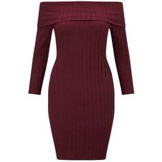 Miss Selfridge Burgundy Rib Bardot Dress ($32) ❤ liked on Polyvore featuring dresses, burgundy, burgundy dress, red three quarter sleeve dress, burgundy red dress, red jersey and 3/4 length sleeve dresses