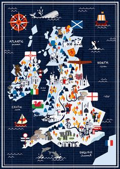 Map showing things of interest in the British Isles, apparently aimed at children. Map showing things of interest in the British Isles, apparently aimed at children. Pictorial Maps, Country Maps, Travel Illustration, Map Design, City Maps, Travel Maps, Vintage Travel Posters, British Isles, Map Art