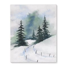 'Winter Pines' Painting on Wrapped Canvas East Urban Home Watercolor Landscape Paintings, Watercolor Trees, Easy Watercolor, Watercolor Cards, Watercolor Print, Painted Christmas Cards, Watercolor Christmas Cards, Christmas Art, Xmas