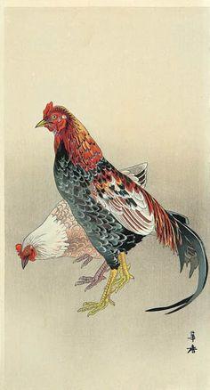 Galerie hanga. . . Galerie torii: Coq et poule par Kako Tsuji....reépinglé par Maurie Daboux ❥•*`*•❥