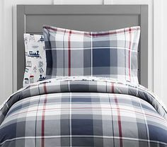 Organic Large Plaid Duvet Cover, Full-Queen, Navy-red