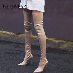 Prova Perfetto 2019 Thigh High Boots Over The Knee Elastic Stretch Boots Women botas mujer Sexy Knee High Heels Sock Boots New Knee High Boots Sale, Knee High Heels, Boots For Sale, Thigh High Boots, High Heel Boots, Over The Knee Boots, Heeled Boots, Women's Boots, Heel Stretch