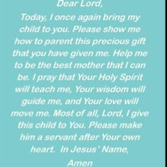 Mother's prayer for child.