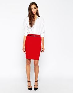 Image 1 of ASOS Belted Pencil Skirt with Seam Detail