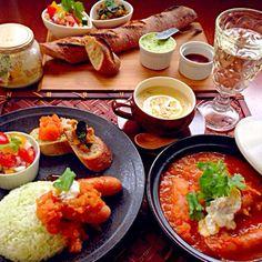✨ナスのザッルーク ✨モロッコ風サルサ ✨ビッサァラ(豆のスープ) ✨Yukaさんのソーセージモロッコ風 ✨シローちゃんのエスカルゴバターライス  今宵はのんびりクッキング久々モロッカンディナー 素敵美味しいレシピありがとうございます❗ - 117件のもぐもぐ - Tonight Amigo's Moroccan Dinnerモロッコナイト by Ami