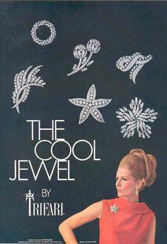 "TRIFARI  ""The Cool Jewel"" Vogue & Harper's Bazaar  1967"