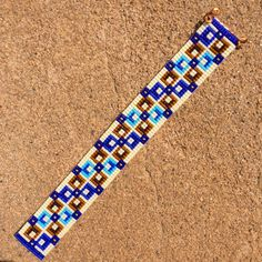 Square Deal Bead Loom Bracelet Artisanal Jewelry by PuebloAndCo
