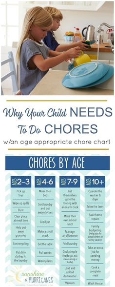 Chores for children are important for so many reasons. They help them learn life skills, responsibility and give them a sense of pride for contributing to their family. Printable Chore Chart included with chores by age. via @sunandhurricane #ParentsKids&Parenst