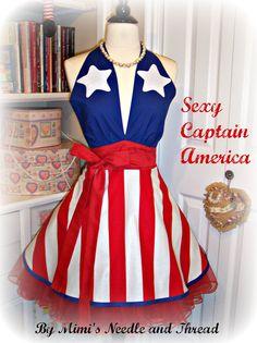 Sexy Captain America handmade apron. $48.00, via Etsy.