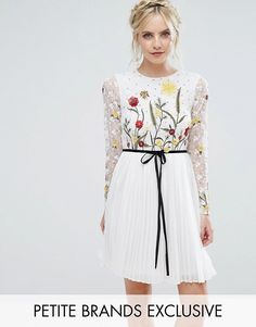 Topshop - Petite - Frock And Frill Petite Premium Embroidered Floral Mini Skater Dress With Contrast Waist in white | Flower and wheat field spring embroidered pattern, long sleeves, lace lined top, pleated skirt, contrast bow around the waist.