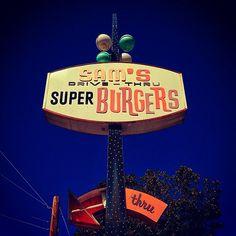 Sam's Burgers' sweet sign -- in San Leandro, CA