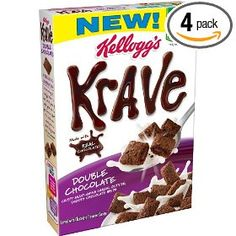 Kellogg's Krave Double Chocolate Cereal, 11 oz Kellogg's Krave Double Chocolate Cereal: Multi-grain cereal outside, smooth chocolate inside Good source of fiber Made with whole grain Filling made with real chocolate Kosher Cereal Recipes, Snack Recipes, Snacks, Chocolate Cereal, Chocolate Boxes, Best Cereal, Low Fiber Diet, Breakfast Cereal, Print Coupons