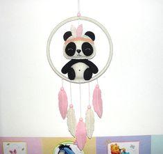 Wool Felt Panda Dream Catcher, Room Decor, Wall Decor, Felt Panda, Baby, Nursery Decor, Girl Gift, Baby Shower, Dreamcatcher, Baby Mobile