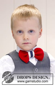 """Christmas gift idea for Knitted DROPS bow for festive occasions in """"Safran"""" ~ DROPS Design Crochet For Boys, Knitting For Kids, Crochet Baby, Knit Crochet, Knitting Patterns Free, Free Knitting, Crochet Patterns, Drops Design, Bow Pattern"""
