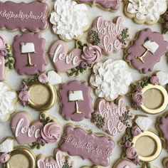 Ger some ideas for bridal shower cookies and wedding cookies here. Cute cookie ideas for bridal showers and for weddings! Elegant Cookies, Fancy Cookies, Valentine Cookies, Cute Cookies, Sugar Cookies, Wedding Shower Cookies, Bridal Shower Cakes, Bridal Shower Decorations, Bridal Showers