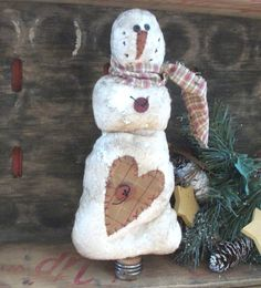 Primitive Christmas Bobbin Snowman shelf sitter by thewoodedlake, $10.85