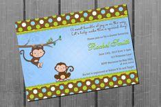 Monkey Boy Baby Shower Invitation and FREE by CuddleBugInvitations, $10.00