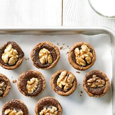 Walnuts are the centerpiece of these creamy (and crunchy) Chocolate-Walnut Tassies: http://www.bhg.com/recipes/desserts/cookies/chocolate-cookies/?socsrc=bhgpin072114chocolatewalnuttassies&page=3