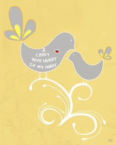 Grey yellow wall art print love birds poam quote I by HoneyBoo, $15.00