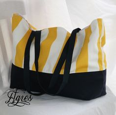 Yellow and White Canopy Stripe Navy Blue Bottom  Big by elgies