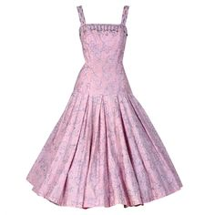 Pre-owned 1950's Champange-Pink Metallic Embroidered Cotton Full Dress ($350) ❤ liked on Polyvore