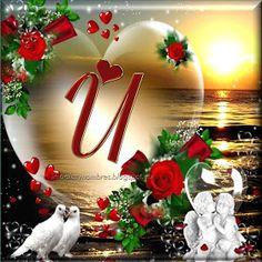 INICIALES Y NOMBRES PARA TI: BELLO DECORADO CON TU INICIAL Dove Images, Christmas Wreaths, Christmas Bulbs, Alphabet, Muslim Love Quotes, Bellisima, Lettering, Table Decorations, Holiday Decor