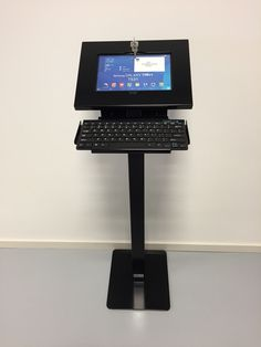 Tabboy tablet floorstand now with bluetooth keyboard holder. Black edition with Galaxy Tab.