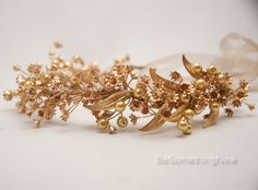 Rustic Gold Bohemian Wedding Wreath bridal crown Headpiece of Golden Babies Breath and Metal Leaves Gold Flower Crown Headband Boho Wedding by BeSomethingNew on Etsy https://www.etsy.com/listing/243502193/rustic-gold-bohemian-wedding-wreath