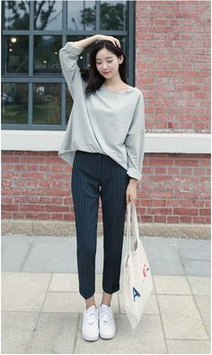 Rico stripes 9 slacks korean fashion kore moda stilleri, kore tarzı, k fash Korean Fashion Online, Korean Fashion Casual, Korean Fashion Trends, Korean Street Fashion, Ulzzang Fashion, Korea Fashion, Asian Fashion, Korean Casual Outfits, Japanese Fashion Street Casual