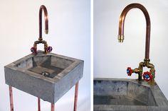 Concrete sink with copper tap & copper heater | Jan Jongejans