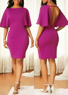 Round Neck Zipper Back Purple Bodycon Dress .From parties and formal dinners to work events and casual summer afternoons,our women's dress selection features something fllatering for every occasion. Trendy Dresses, Sexy Dresses, Cute Dresses, Casual Dresses, Sheath Dresses, Party Dress Sale, Club Party Dresses, African Fashion Dresses, Fashion Outfits