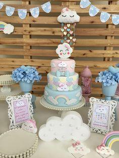 New Baby Shower Cake Sprinkles Center Pieces Ideas 1st Birthday Cake For Girls, Twin Birthday Cakes, First Birthday Parties, Birthday Party Themes, Baby Shower Cakes, Baby Shower Parties, Cloud Party, Cloud Cake, 1st Birthdays