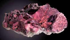 Denver2015- Covellite Summitville Colorado Lustrous and reddish-purple to iridescent blades of Covellite in cluster on matrix!