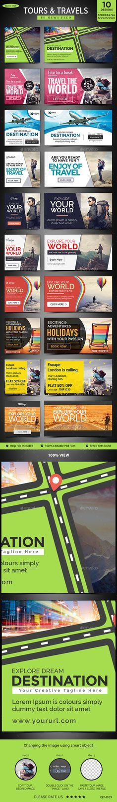 10 Tours & Travels Facebook News Feed Banner Images Template - Download Here : http://graphicriver.net/item/tours-travels-facebook-news-feed-images-10-designs-2-sizes-each/14657886?ref=yinkira
