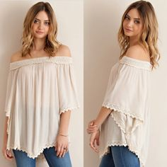 🆕 Natural Off The Shoulder  Blouse 💕AVAILABLE in SMALL, MED, LARGE  •Elastic Off the Shoulder  •Poncho Style w/Arm Holes •Crochet Detail Hem •Non-Sheer, Lightweight  •100% Rayon  Model is wearing size Small.  💕SMALL:     MED:      LARGE:   SKU: 16S019 •••••••••••••••••••••••••••••••••••••••••••  🙋Hello! I'm Monika. I'm a Boutique Owner & an Entrepreneur Mentor. Welcome to my closet!   Let's keep in touch 💕 💟Instagram: @monikarosesf 💟YouTube: MonikaRoseSF 💟Snapchat: itsmonikarose…