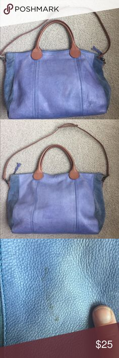 Anthropologie Holding Horses Large Handbag Large Leather Anthro Bag in French Blue. Inside has small tear in fabric that needs repair and signs of wear. Outside has a few water stains that need to be professionally removed. Handles need to be mended with superglue or leather glue. Comes with shoulder strap in like new condition.  Bag sold as is.  Look at all pics and ask questions before purchase. 15x11x3 seam to seam. This is a great everyday bag for commuters. Leather is soft and supple…
