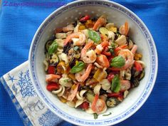 Orecchiette con verdure grigliate e gamberi http://zampetteinpasta.blogspot.it/2013/07/orecchiette-con-verdure-grigliate-e.html