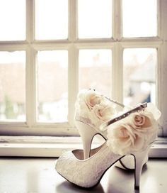 Beautiful flower and lace shoes.