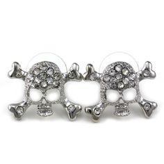 Clear Halloween Skull Crossbones Stud Post Pierced Earrings Silver Tone Clear Stones Fashion Jewelry Soulbreezecollection. $8.99. Earrings Size: Approx 0.7 Inch Width x 0.5 Inch Length. Stone: Clear (Colors May Vary Due To Different Display Settings). Condition: Brand New. Material: Rhodium Plated. Nickel and Lead Free / Lead Compliant. Save 40%!