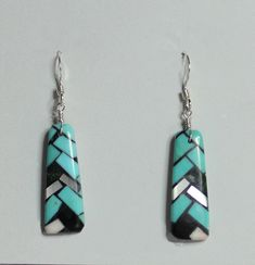 Angie Reano Owen<br>Ke-Wa/Santo Domingo Jewelry<br>Earrings-French Wire<br>Multi-inlay Mosaic Sm Rectangles<br>Green Turquoise, White Mother of Pearl, Jet from Native Silver