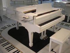 WHITE GRAND PIANO, Custom Lucite Bar & Piano Rug