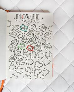 5 BuJo Ideas in 2016 Bullet Journal Movie Night. Color in the kernel when you've finished the movieBullet Journal Movie Night. Color in the kernel when you've finished the movie Wreck This Journal, My Journal, Journal Pages, Dream Journal, Bullet Journal Inspo, Bullet Journals, Art Journals, Bullet Journal Films, Bullet Journal Modules