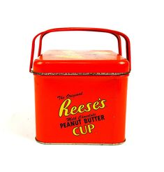 The Original Reese's Milk Chocolate Peanut Butter Cup box Tin w/ hinged handles #ReesesCup