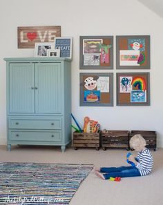 Playroom Decor Changes Part 2 - The Lilypad Cottage tv cabinet color, 4 framed cork boards & the stained crates with wheels added. Office Playroom, Playroom Organization, Playroom Design, Playroom Decor, Playroom Ideas, Organization Ideas, Colorful Playroom, Kids Corner, E Design